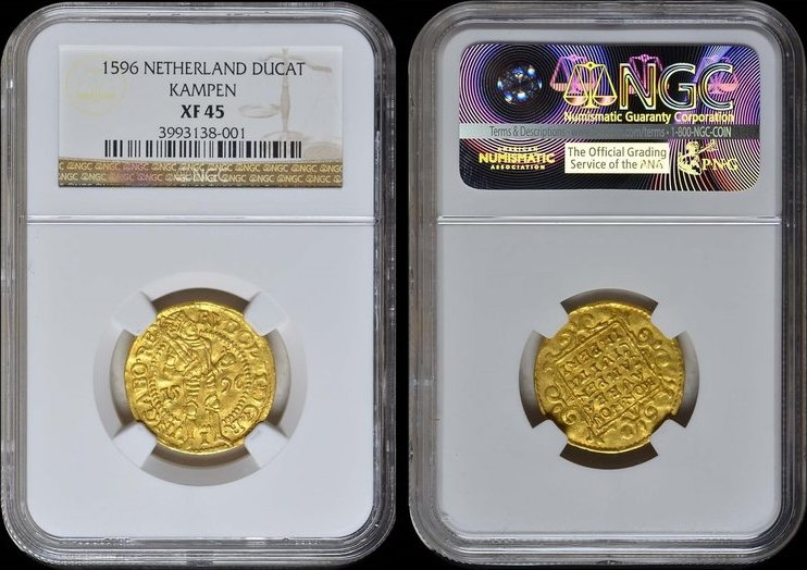 1596 Overijssel KAMPEN, Rudolf II, Ducat 1596 GOLD NGC XF 45 XF 45