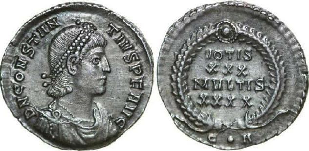324 - 361 AD Imperial CONSTANTIUS II 324 - 361 AD. AR Siliqua, 2.14g. RIC 102 Near Extremely Fine / Fast Vorzüglich