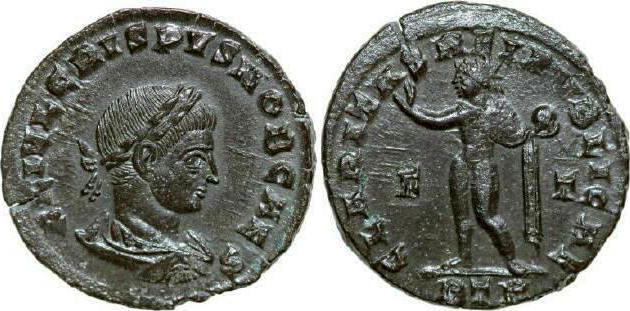 Æ Follis 317 - 326 AD Imperial CRISPUS 317 - 326 AD. , 2.55g. RIC 176 Near Extremely Fine / Fast Vorzüglich