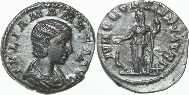 AR Denarius 222 - 235 AD Imperial JULIA MAMAEA Mother of Severus Alexander 222 - 235 AD. , 2.71g. RIC 343 Near Extremely Fine / Fast Vorzüglich
