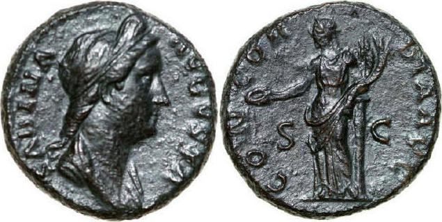 128 - 136 AD Imperial SABINA Wife of Hadrianus 128 - 136 AD. As, 10.42g. RIC 1047 Near Extremely Fine / Fast Vorzüglich