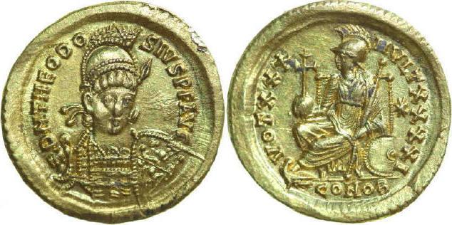 AV Solidus 408 - 450 AD Imperial THEODOSIUS II 408 - 450 AD. , 4.35g. RIC 257 Mint State / Stempelglanz