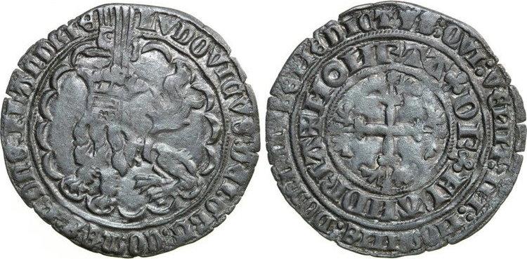 Dubbele Groot 1346 - 1384 Low Countries VLAANDEREN GRAAFSCHAP Lodewijk van Male 1346 - 1384 Botdrager 3.92g. DeMey 218