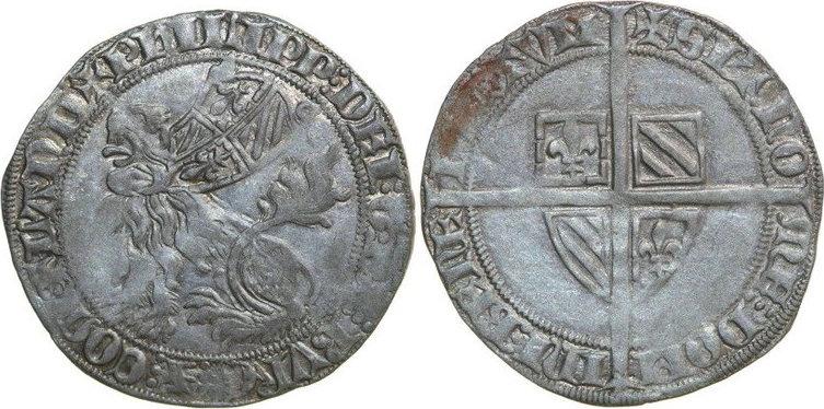 Dubbele Groot 1384 - 1404 Low Countries VLAANDEREN GRAAFSCHAP Philips de Stoute 1384 - 1404 Botdrager 4.01g. Ddp 8.18