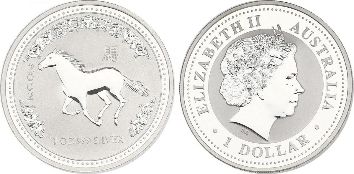 Dollar 2002 Australien Lunar Serie Jahr des Pferdes / Year of the horse unc. in Münzkapsel