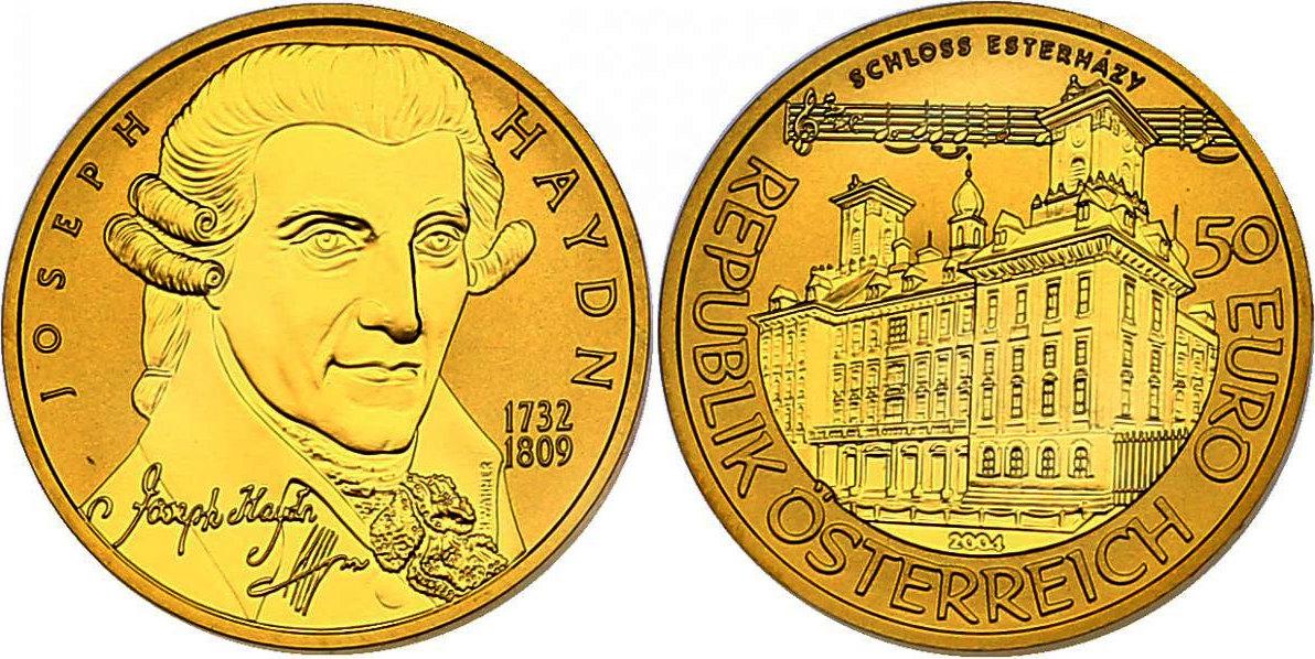50 Euro 2004 Österreich Serie Große Komponisten - Joseph Haydn pp. im Originaletui mit Zertifikat