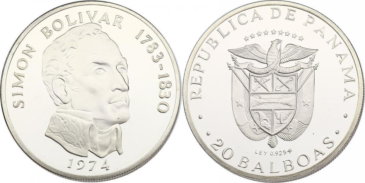 20 Balboas 1974 Panama Simon Bolivar (1783 - 1830) pp. in Originaletui mit Zertifikat