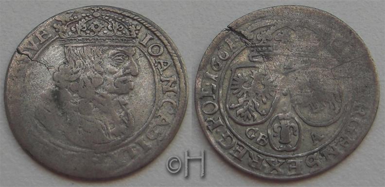 6 Groschen 1661 GB-A Polen Johann Kasimir (1649 - 1668) f.ss