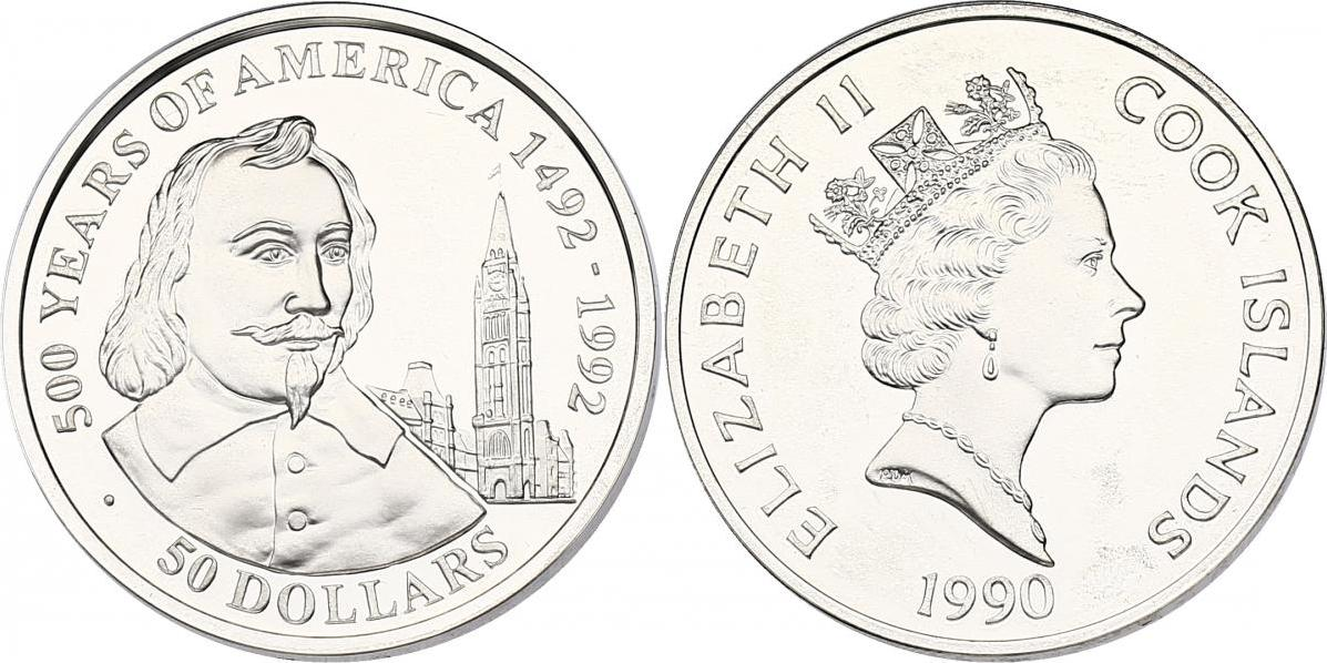 "50 Dollar 1990 Cook Inseln (Cook Islands) Serie ""500 Years of America"" - Samuel de Camplain pp"