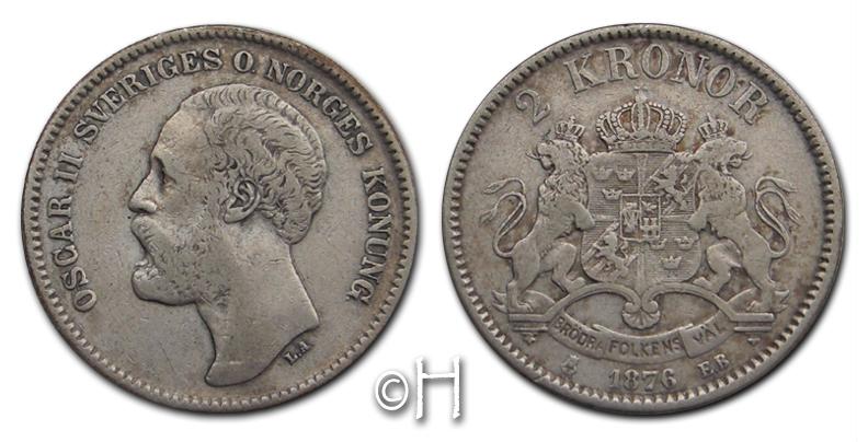 2 Kroner 1876 EB Schweden Oskar II. (1872 - 1907) ss