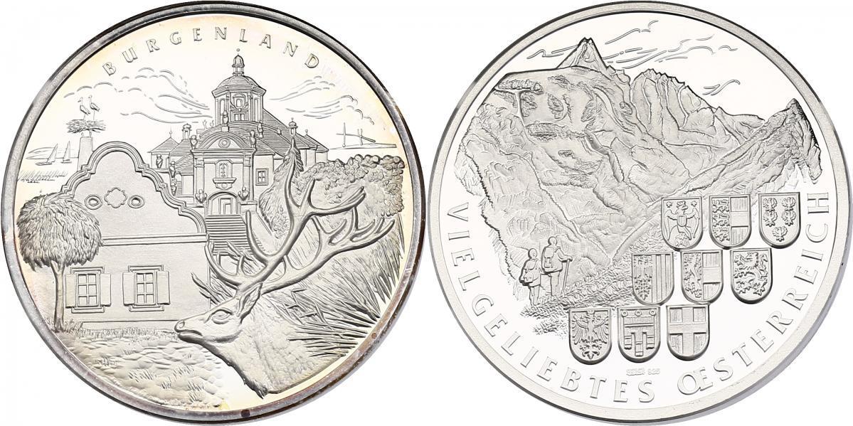 Ag-Medaille o.J. Österreich Serie Vielgeliebtes Österreich - Burgenland (Neusiedlersee, Bergkirche,...) pp
