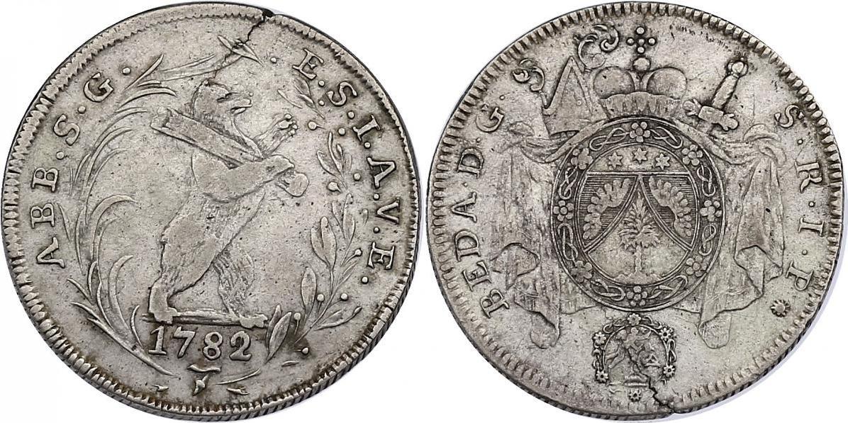1/2 Taler 1782 Schweiz - St. Gallen Abtei Beda Angehrn ss