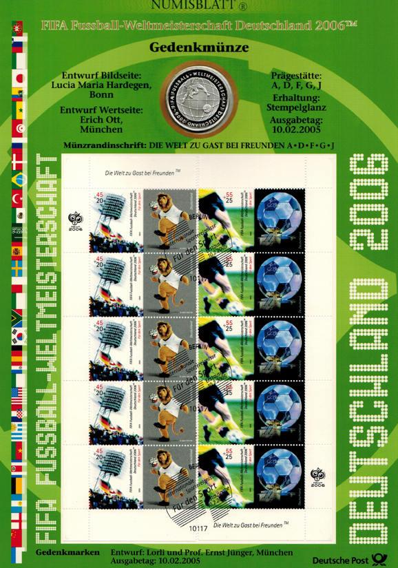 10 Euro 2005 Deutschland FIFA Fußball-Weltmeisterschaft Deutschland 2006 unc. im Numisblatt