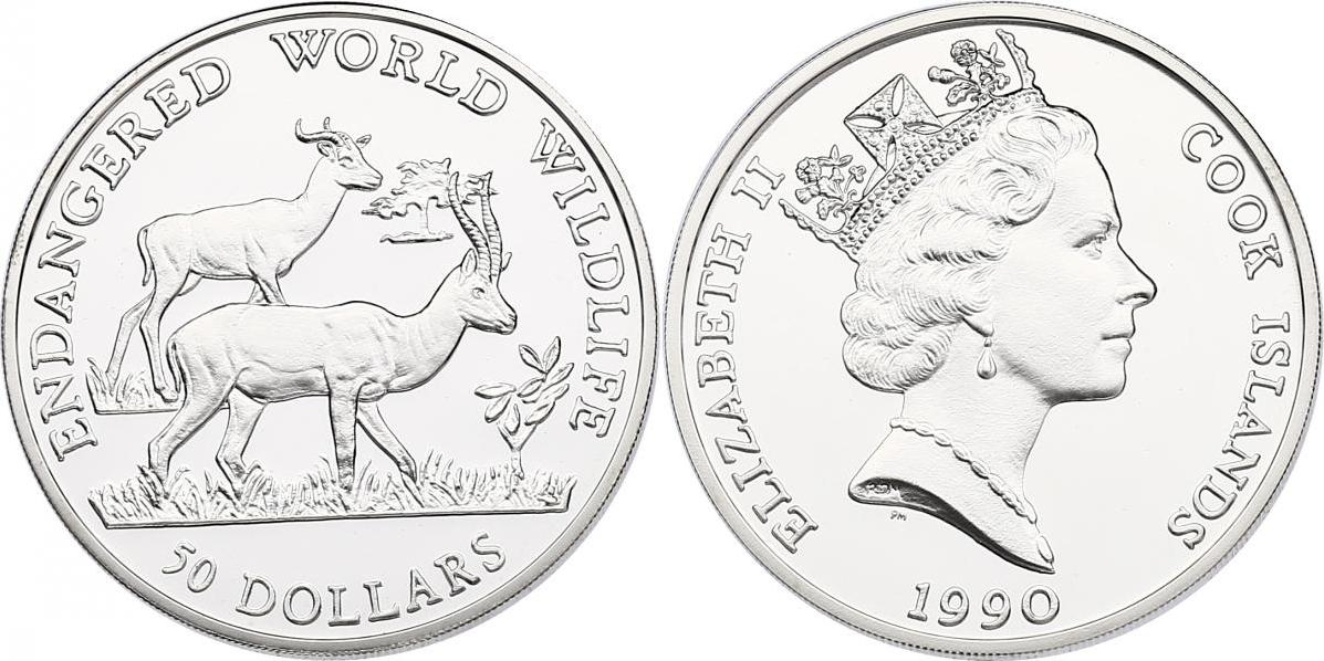 "50 Dollar 1990 Cook Inseln (Cook Islands) Serie ""Endangered World Wildlife"" - Dama Gazellen pp."