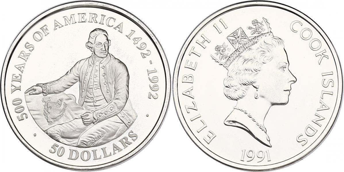 """50 Dollar 1991 Cook Inseln (Cook Islands) Serie """"500 Years of America"""" - Captain James Cook pp. in Münzkapsel"""