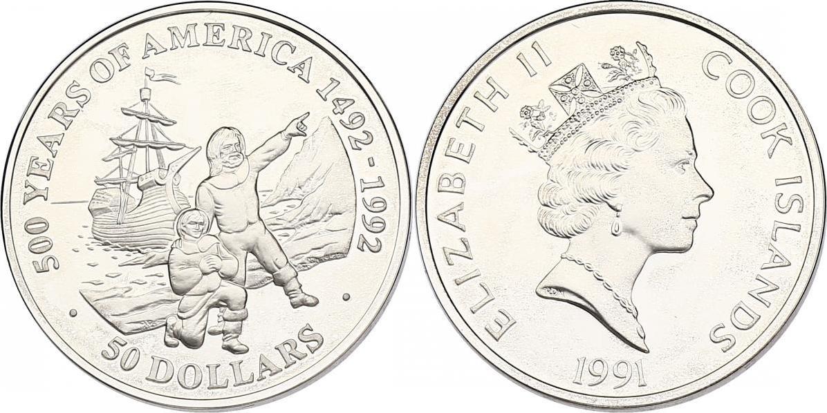 "50 Dollar 1991 Cook Inseln (Cook Islands) Serie ""500 Years of America"" - Mayflower und Pilger pp. in Münzkapsel"