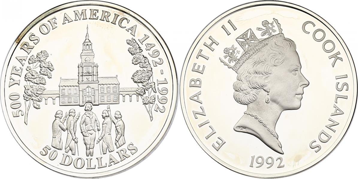 """50 Dollar 1992 Cook Inseln (Cook Islands) Serie """"500 Years of America"""" - Independence Hall pp. in Münzkapsel"""
