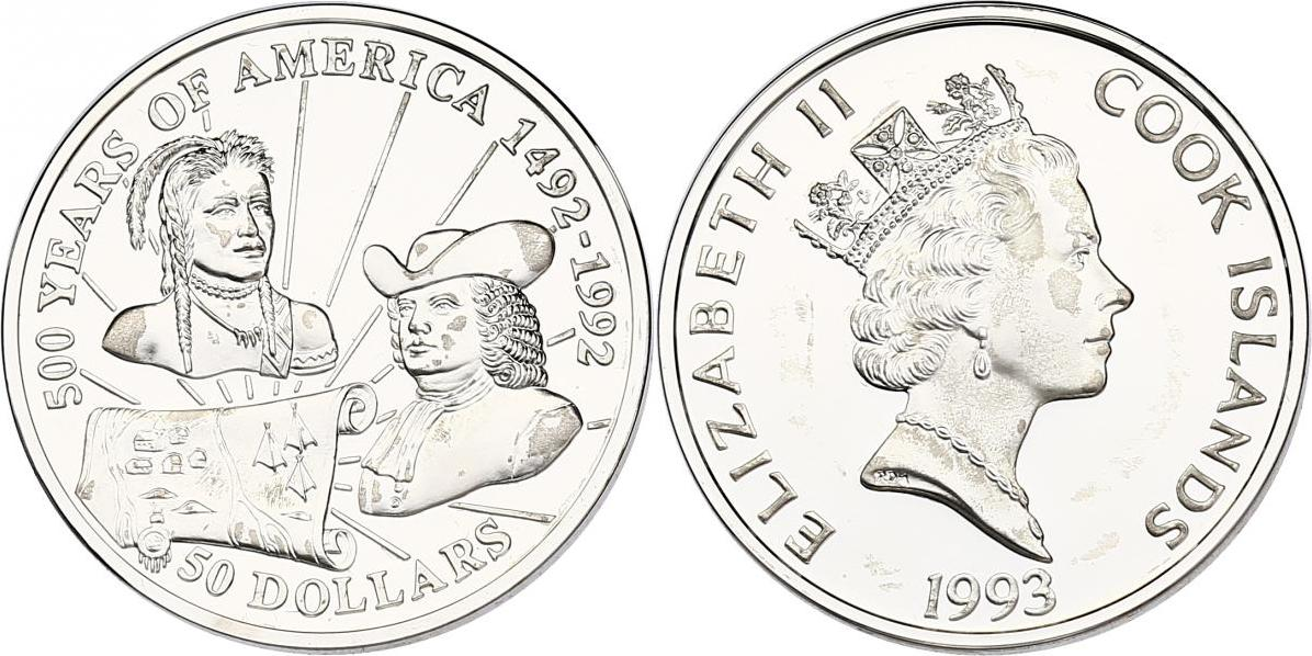 "50 Dollar 1993 Cook Inseln (Cook Islands) Serie ""500 Years of America"" - William Penn, Indianer pp. in Münzkapsel"