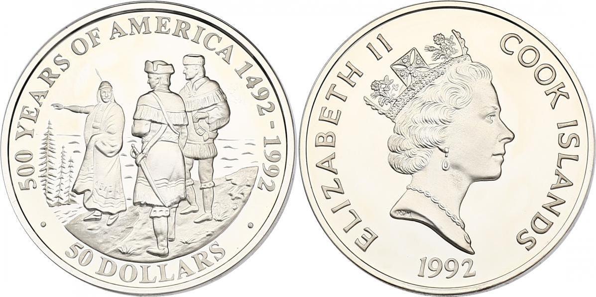 "50 Dollar 1992 Cook Inseln (Cook Islands) Serie ""500 Years of America"" - Sacagawea, Lewis und Clark pp. in Münzkapsel"