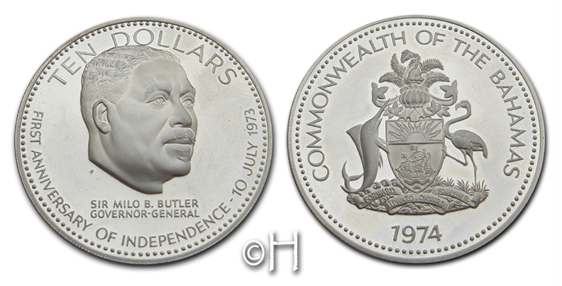 10 Dollar 1974 Bahamas Erster Jahrestag der Unabhänigkeit - Sir Milo B. Butler pp.