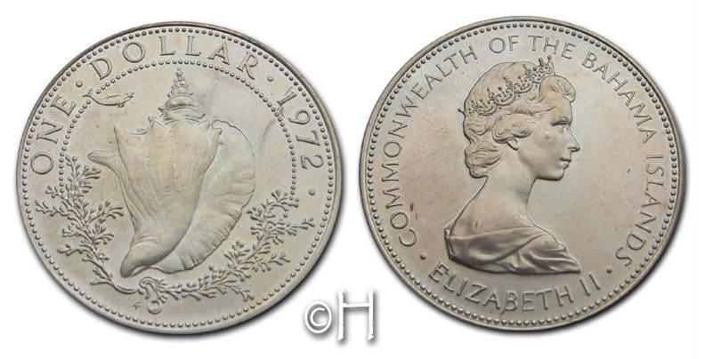 Dollar 1972 Bahamas Muschel pp.
