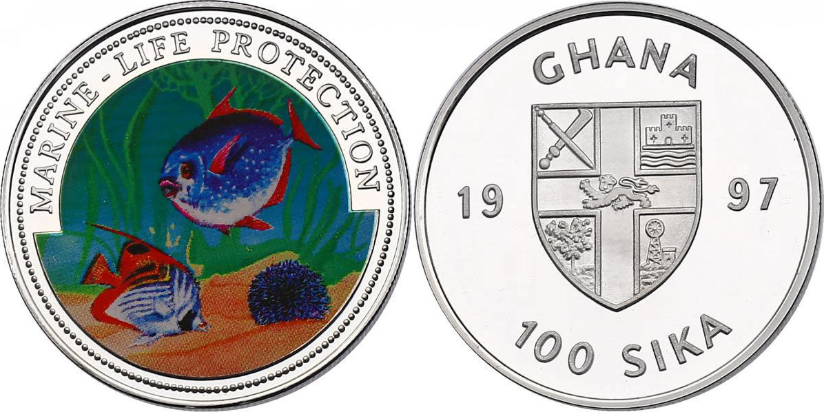100 Sika 1997 Ghana Serie Marine Life Protection - Korallen-Fische pp. mit Farbmotiv
