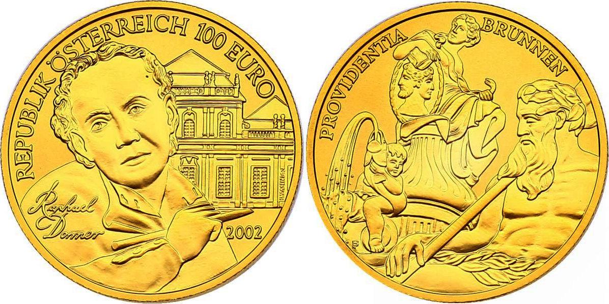 100 Euro 2002 Österreich Serie Kunstschätze Österreichs - Die Bildhauerei hdgh. im Originaletui mit Zertifikat