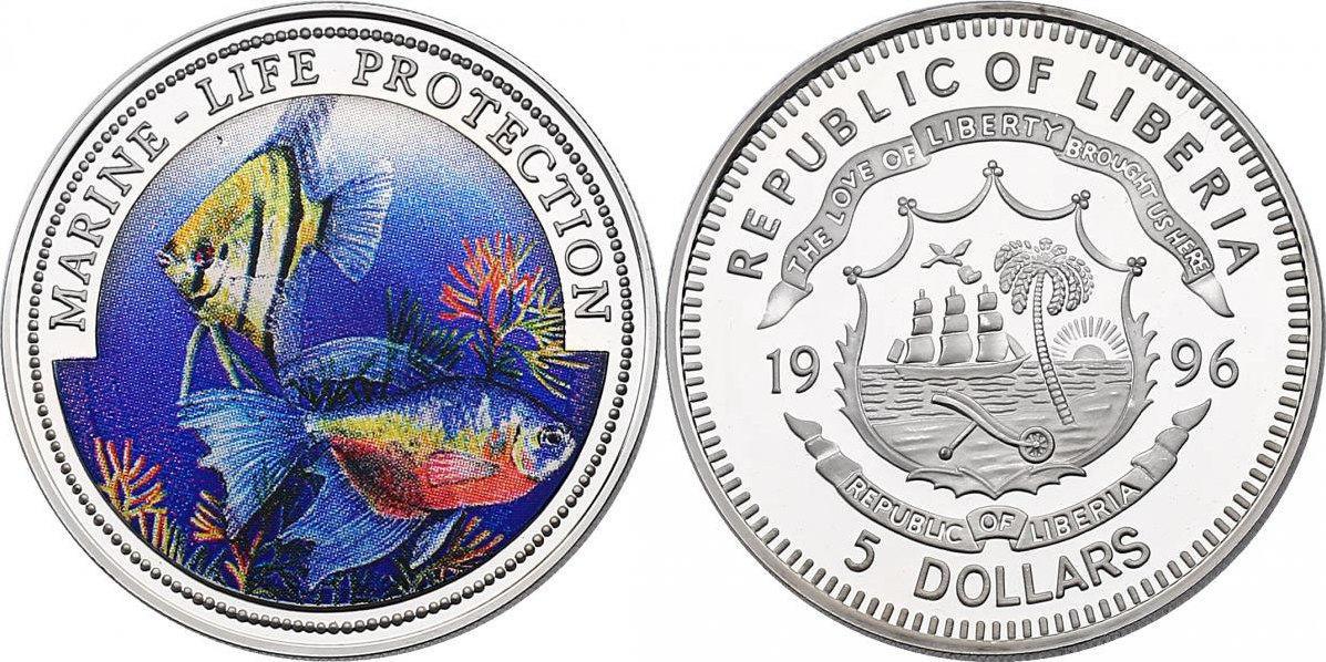5 Dollar 1996 Liberia Serie Marine Life Protection - Fische pp. mit Farbmotiv