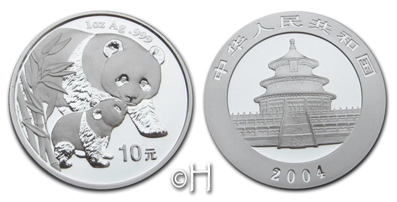 10 Yuan 2004 China Panda und Baby stgl.