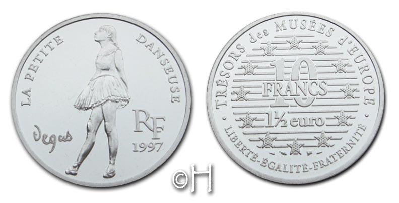 10 Francs (1,5 Euro) 1997 Frankreich Serie Trésors des Musées d'Europe - La petite danseuse pp.