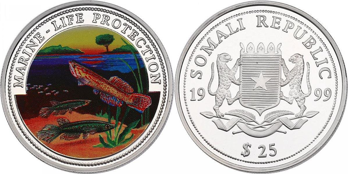 25 Dollar 1999 Somalia Serie Marine Life Protection - Killifische pp. mit Farbmotiv