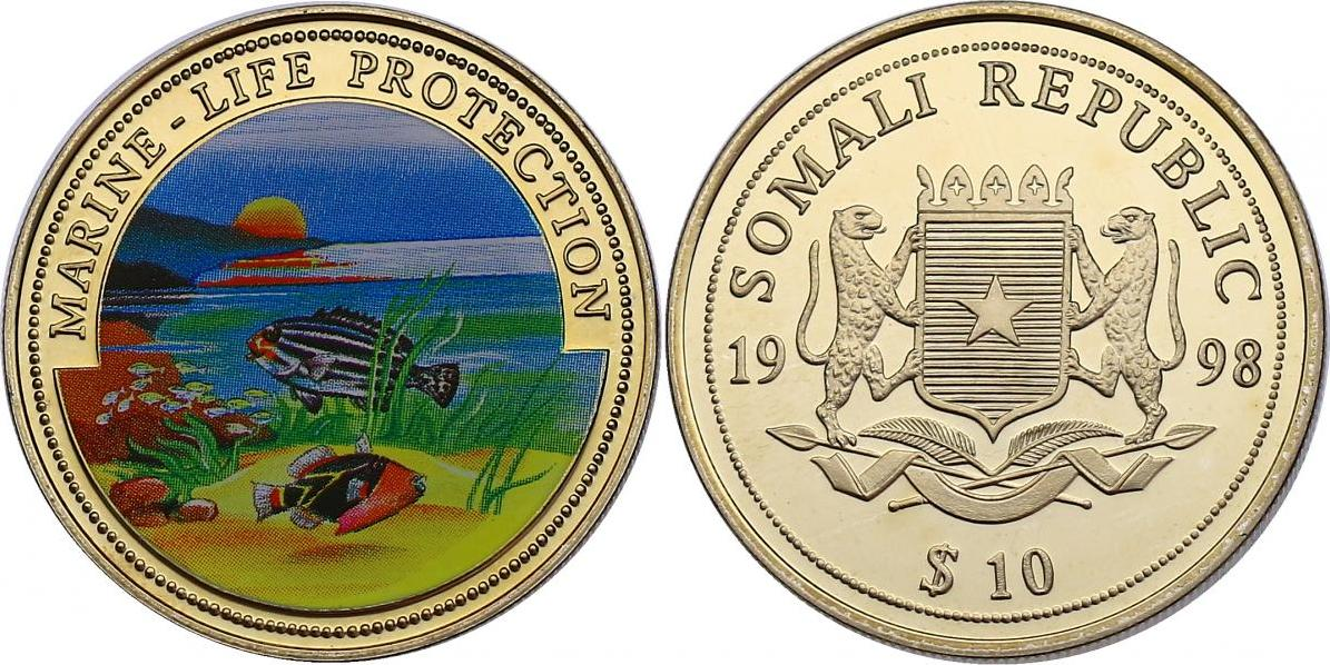 10 Dollar 1998 Somalia Serie Marine Life Protection - Süsslippenfisch pp. mit Farbmotiv