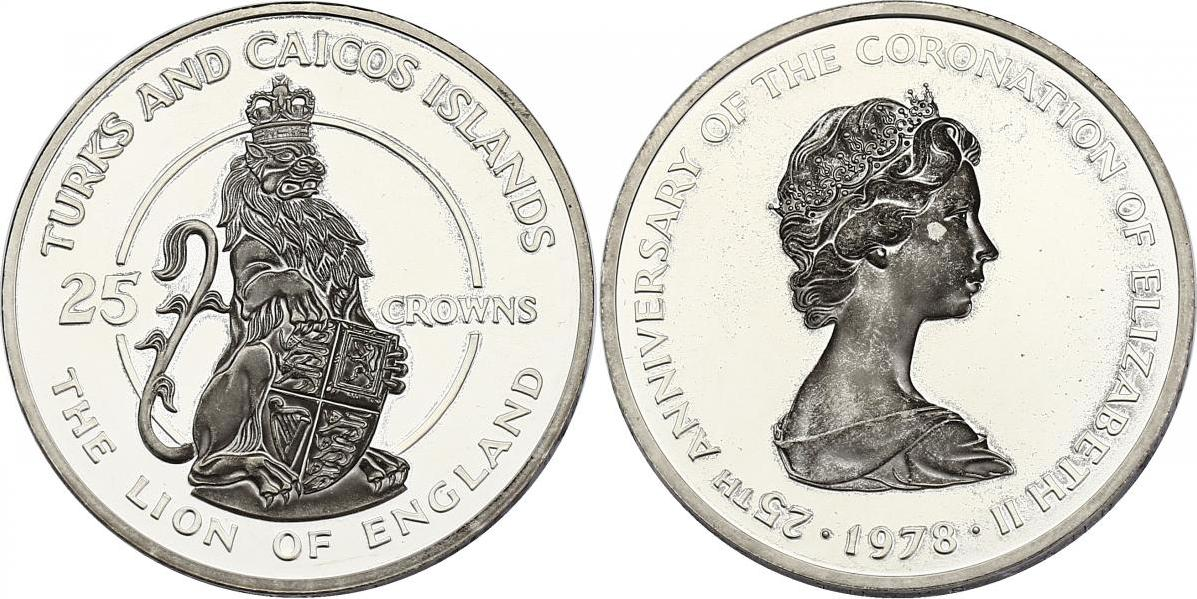 25 Crowns 1978 Turks & Caicos Inseln The lion of England pp. dunkles Motiv