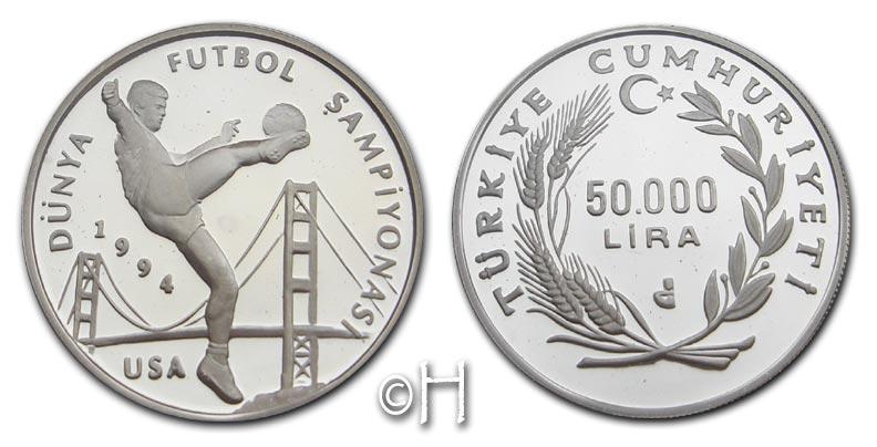 50000 Lira 1993 Türkei Fussball WM pp.