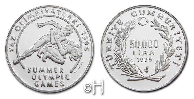 50000 Lira 1995 Türkei Olympische Spiele 1996 - Wrestling pp.