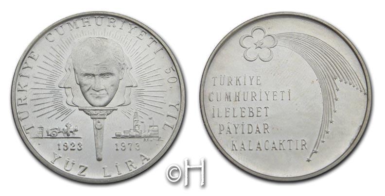 100 Lira 1973 Türkei 50 Jahre Republik pp.