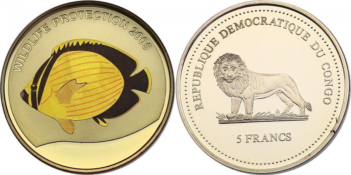 5 Francs 2005 Kongo Serie Wildlife Protection 2005 - Schmetterlingsfisch pp. mit Farbmotiv