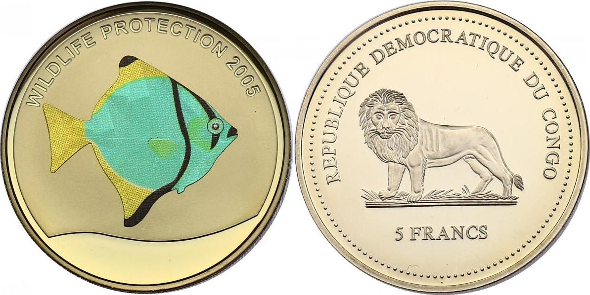 5 Francs 2005 Kongo Serie Wildlife Protection 2005 - Moony Fish pp. mit Farbmotiv