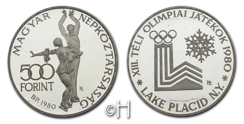 500 Forint 1980 Ungarn XIII. Olympiade Lake Placid - Eiskunstlauf pp.