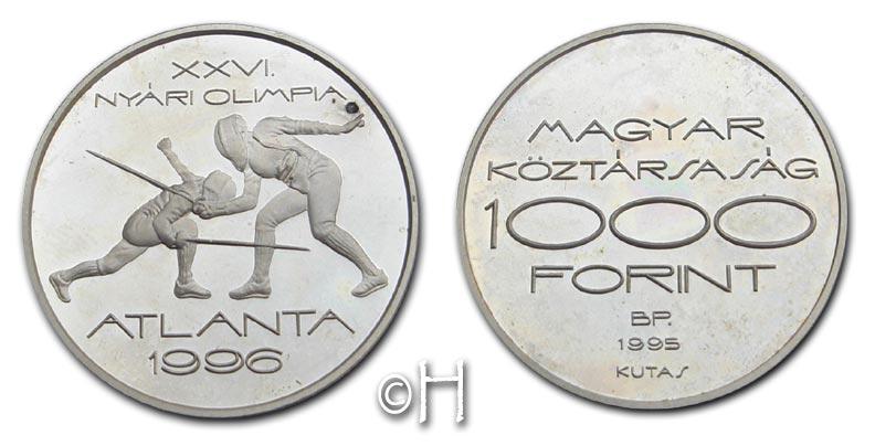 1000 Forint 1995 Ungarn XXVI. Olympische Spiele Atlanta - Fechten pp.