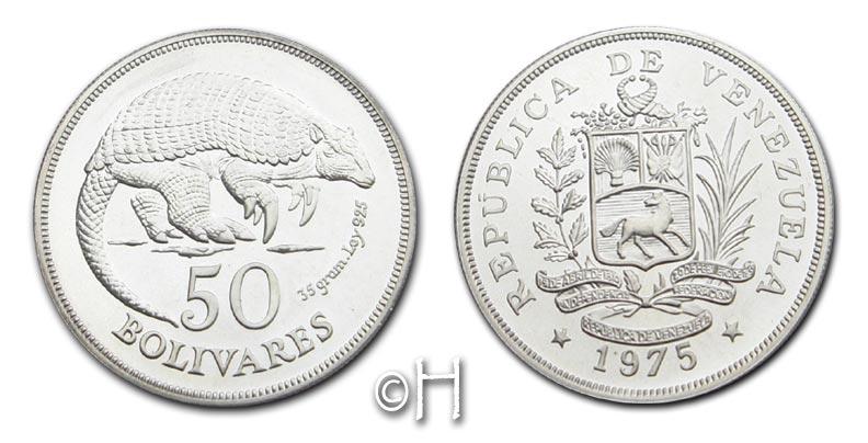 50 Bolivares 1975 Venezuela Gürteltier stgl.