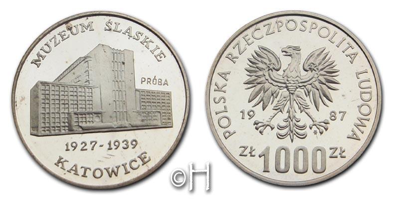 1000 Zloty PROBE 1987 Polen Museum Slaskie pp. in Hartplastikhülle
