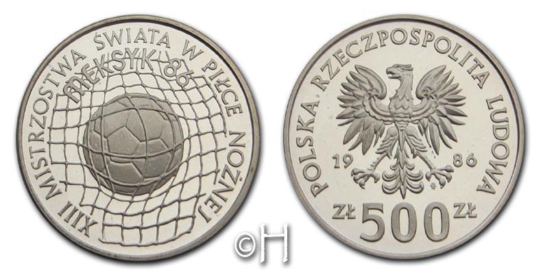500 Zloty 1986 Polen XIII. Fußball-Weltmeisterschaft Mexiko 1986 pp.
