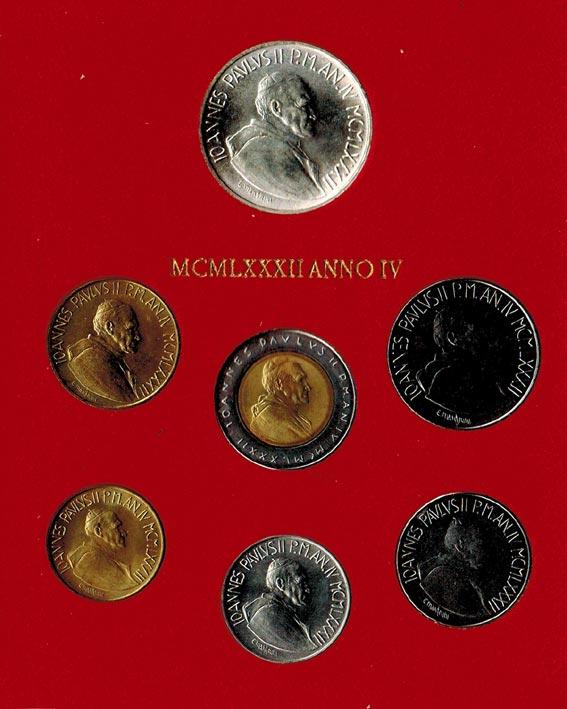 KMS (10 Lire - 1000 Lire) 1982 Vatikan Johannes Paul II. (1978 - 2005) stgl.