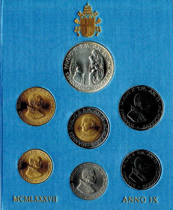 KMS (10 Lire - 1000 Lire) 1987 Vatikan Johannes Paul II. (1978 - 2005) stgl.
