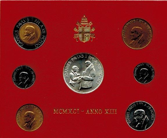 KMS (10 Lire - 1000 Lire) 1991 Vatikan Johannes Paul II. (1978 - 2005) stgl.