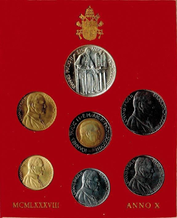 KMS (10 Lire - 1000 Lire) 1988 Vatikan Johannes Paul II. (1978 - 2005) stgl.