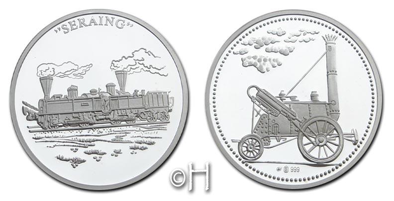 Ag-Medaille 1998 Deutschland Geschichte der Eisenbahn - Seraing/Rocket pp. mit Zertifikat