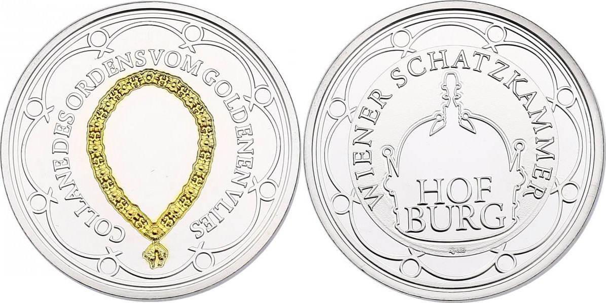 Ag-Medaille o.J. Österreich Serie Hofburg - Wiener Schatzkammer - Collande (Orden vom Goldenen Vlies) unc. mit Goldapplikation