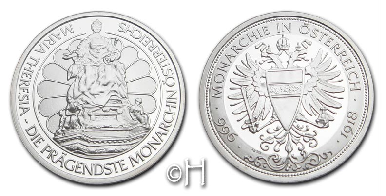 Ag-Medaille o.J. Österreich Serie Monarchie in Österreich (996 - 1918) - Maria Theresia pp.